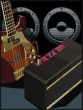 Guitare électrique avec l'ampère et le haut-parleur Photo libre de droits