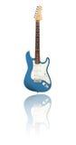 Guitare électrique avec la réflexion, métallique-bleue Photographie stock
