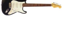Guitare électrique classique de corps solide en haut du fond blanc, avec l'abondance de l'espace de copie Photographie stock libre de droits