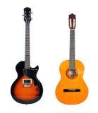 Guitare électrique d'anf de guitare acoustique Photographie stock libre de droits