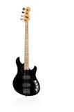 Guitare électrique de basse noire sur le blanc Photos stock