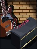 Guitare électrique et amplificateur de guitare Photographie stock