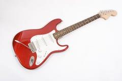 Guitare électrique rouge de corps solide de vintage, d'isolement sur le blanc Photographie stock libre de droits