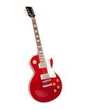 Guitare électrique rouge de cru, d'isolement sur le blanc. Image stock
