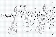 Guitare acoustique, électrique et basse Photo libre de droits