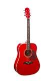 Guitare acoustique classique rouge en bois naturelle Photo stock