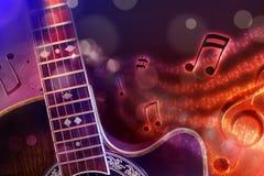 Guitare acoustique d'illustration avec le fond rouge et bleu noir Photo stock