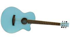 Guitare acoustique d'isolement sur le fond blanc Photographie stock