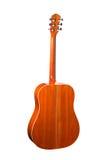 Guitare acoustique d'isolement sur un fond blanc Vue arrière Image libre de droits