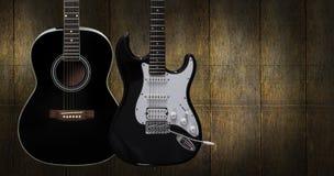 Guitare acoustique et électrique Photographie stock