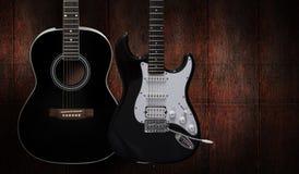 Guitare acoustique et électrique Photos libres de droits