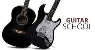 Guitare acoustique et électrique Image stock