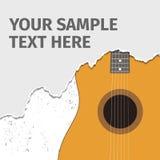 Guitare acoustique et papier déchiré Photos stock
