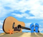 Guitare acoustique sur la plage Image stock