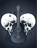 Guitare avec des crânes Photos libres de droits