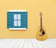 Guitare avec la fenêtre sur le mur de ciment Photos libres de droits