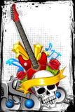 Guitare avec le crâne Image stock
