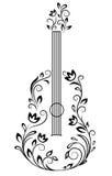Guitare avec les groupes floraux Images stock