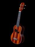 Guitare d'ukulélé d'Hawaï d'isolement sur le fond noir photographie stock libre de droits