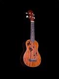 Guitare d'ukulélé d'Hawaï d'isolement sur le fond noir photos libres de droits
