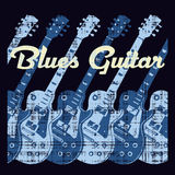 Guitare de bleus Photo libre de droits