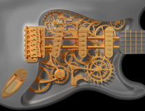 Guitare de rouage d'horloge illustration de vecteur