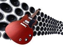 Guitare devant des haut-parleurs Photo stock