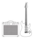 Guitare et amplificateur Image libre de droits