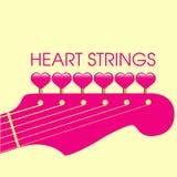 Guitare et coeurs roses Photo stock