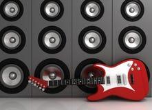 Guitare et haut-parleurs Photo stock