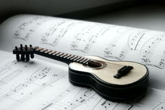 Guitare et notes Photographie stock