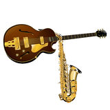 Guitare et saxophone de jazz Photographie stock