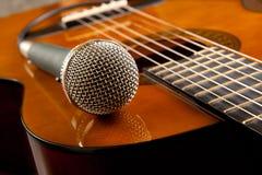 Guitare et un microphone Photographie stock libre de droits