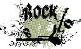 Guitare grunge avec la légende et les ornements de ROCHE Photos stock
