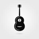 Guitare noire avec l'ombre illustration stock