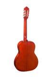 Guitare orange acoustique d'isolement sur un fond blanc Vue arrière Images stock
