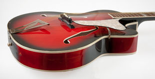Guitare rouge d'archtop de vintage Image libre de droits