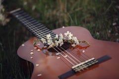 Guitare se trouvant sur l'herbe Concept : chanson de ressort et d'amour tonalité de l'image Photographie stock