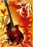 guitare sur le fond floral Photographie stock