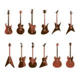 Guitares électriques réglées illustration de vecteur