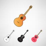 Guitares acoustiques et électriques réglées Photographie stock libre de droits