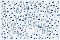 Guitares et notes Image stock