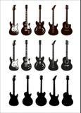 Guitares, instruments de musique, silhouette illustration libre de droits