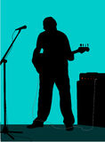 Guitarist 1. Silhoutte of man playing guitar stock illustration