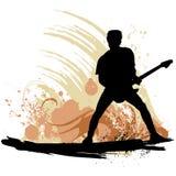 Guitarist. Grunge style guitarist silhouette vector Stock Image