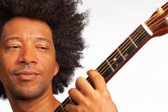 Guitarist. African american guitarist, closeup take while performing Stock Images