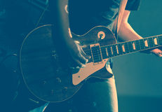 Guitarist. Of a rock band with a guitar Royalty Free Stock Photo