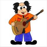 Guitarist. Man in orange shirt, guitar, sings and plays Royalty Free Stock Photos