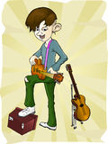 The guitarist. Illustration of guitar player, with sound box and two guitar Stock Photos