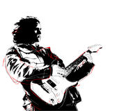 Guitarist. Illustration of guitarist in white background Stock Photography